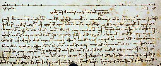 Leonardo mirror writing sample