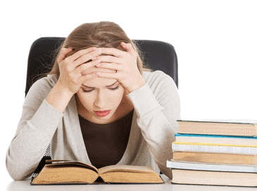 frustrated woman studying