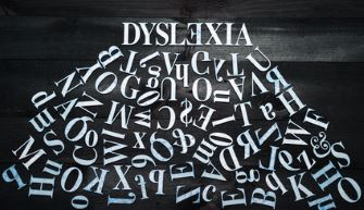 Dyslexia atop jumbled letters