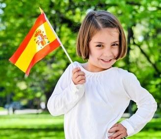 girl with Spanish flag