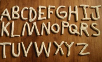 upper case alphabet in clay